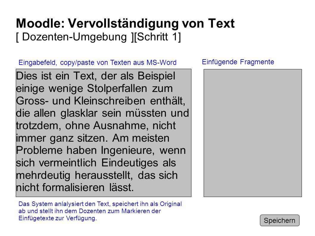 Moodle: Vervollständigung von Text [ Dozenten-Umgebung ][Schritt 1]